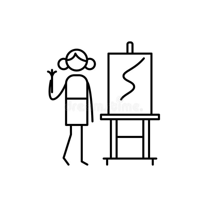 Artysta ikona Element ludzka hobby ikona dla mobilnych pojęcia i sieci apps Cienka kreskowa artysta ikona może używać dla sieci i royalty ilustracja