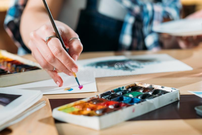 Artysta inspiracji akwareli grafiki brushstrokes obraz royalty free