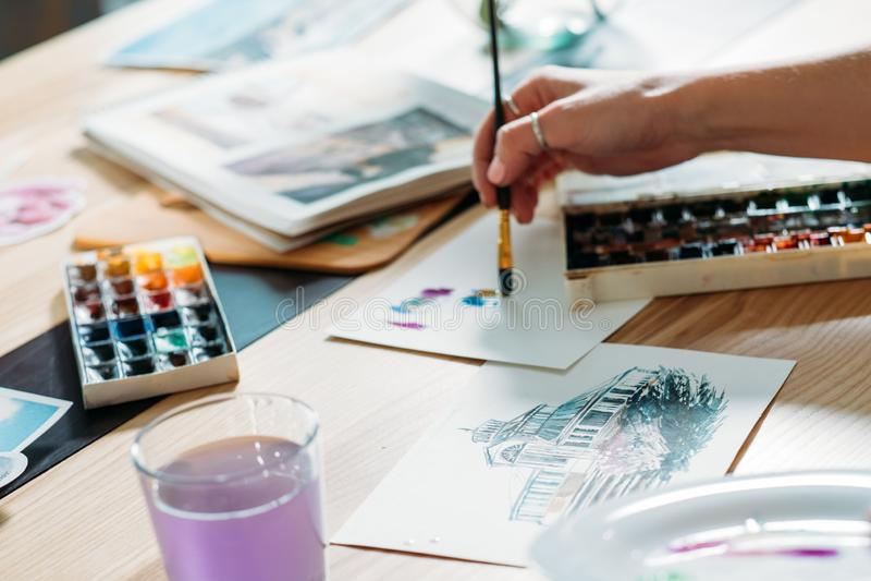 Artysta inspiracji akwareli grafiki brushstrokes obrazy royalty free
