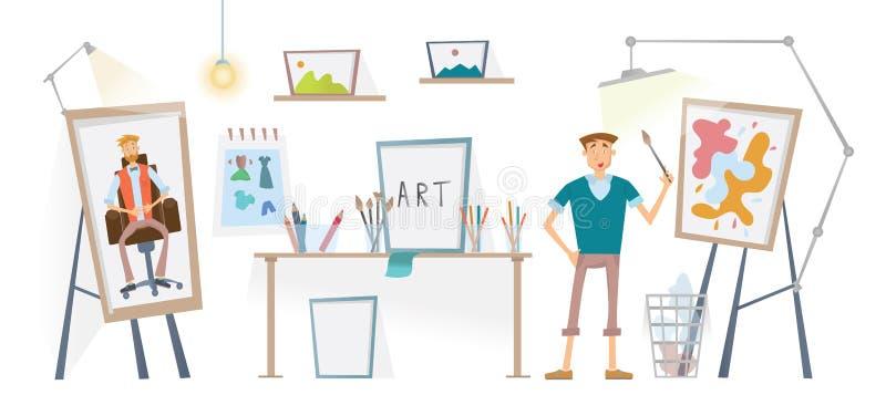 Artysta pracuje w jego studiu Mężczyzna z szczotkarską pozycją przy sztalugą również zwrócić corel ilustracji wektora ilustracja wektor