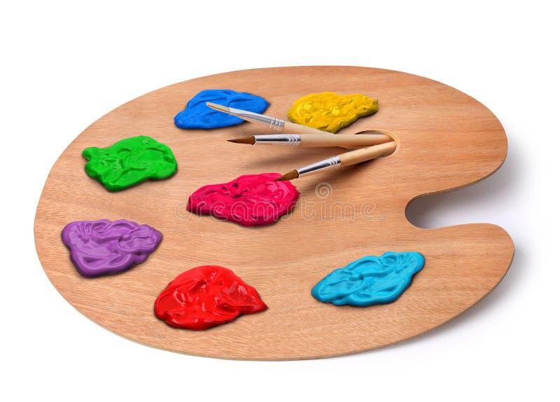 artysta szczotkuje kolor paletę zdjęcie royalty free