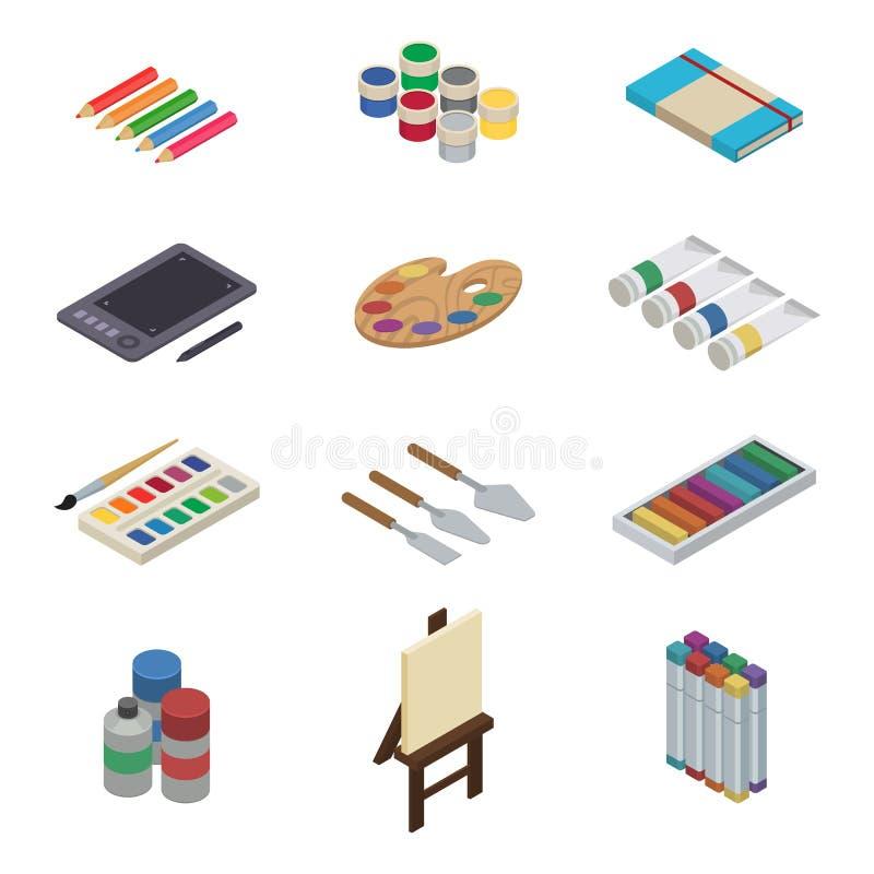 Artysta wytłacza wzory wektorową akwarelę z paintbrushes palety i kolor maluje na kanwie dla grafiki w sztuki studiu ilustracja wektor