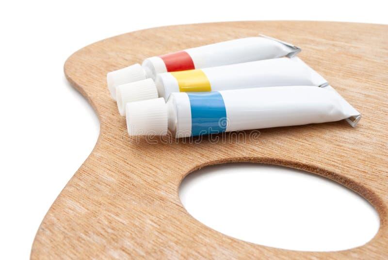 artysty farby palety s tubki zdjęcie stock
