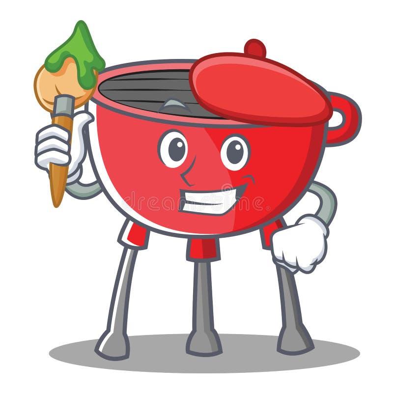 Artysty grilla grilla postać z kreskówki ilustracji
