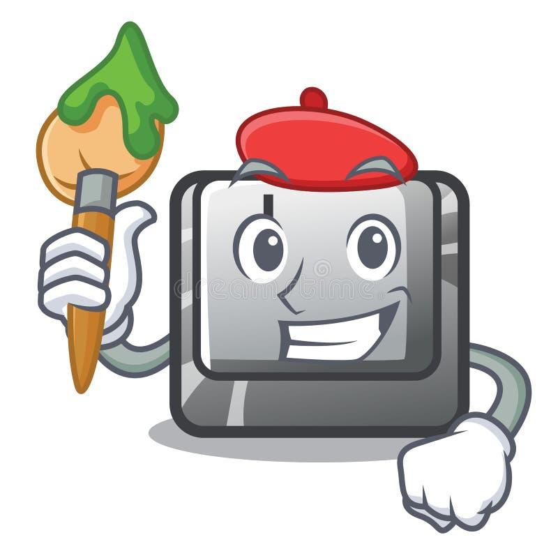 Artysty guzik J instalujący na kreskówka komputerze royalty ilustracja