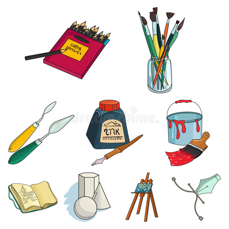 Artysty i rysunku ustalone ikony w kreskówce projektują Duża kolekcja artysta i rysunkowy wektorowy symbol zaopatrujemy ilustracj ilustracji