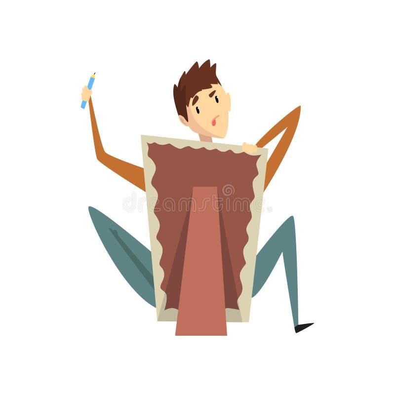 Artysty rysunek na brezentowej siedzącej pobliskiej sztaludze, utalentowanym męskim malarza charakterze, kreatywnie artystycznym  ilustracja wektor