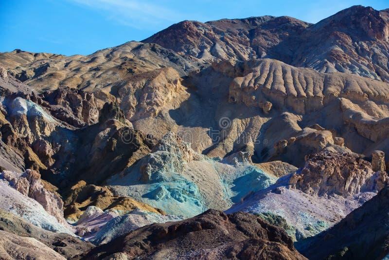 Artysty ` s palety punktu zwrotnego miejsce w Śmiertelnym Dolinnym parku narodowym zdjęcie royalty free