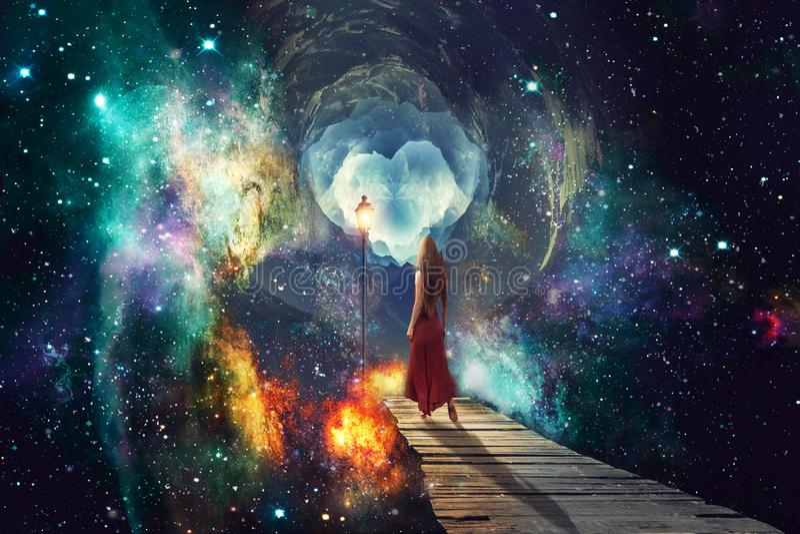 Artystyczna Abstrakcjonistyczna Cyfrowej kobieta Stoi Samotnie W Stubarwnej Wszechrzeczej grafice ilustracja wektor