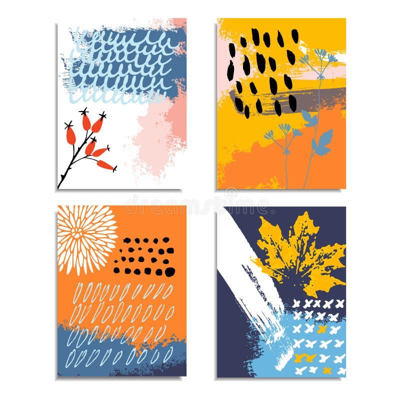 Artystyczna abstrakcjonistyczna ręka rysować karty, zaproszenia Jesień spadku koloru paleta Szczotkarska tekstura, kwieciści elem ilustracja wektor