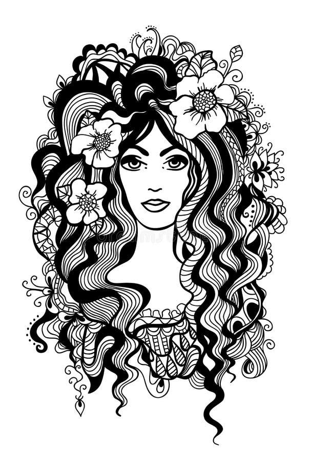 Artystyczna czarny i biały ilustracja. ilustracja wektor