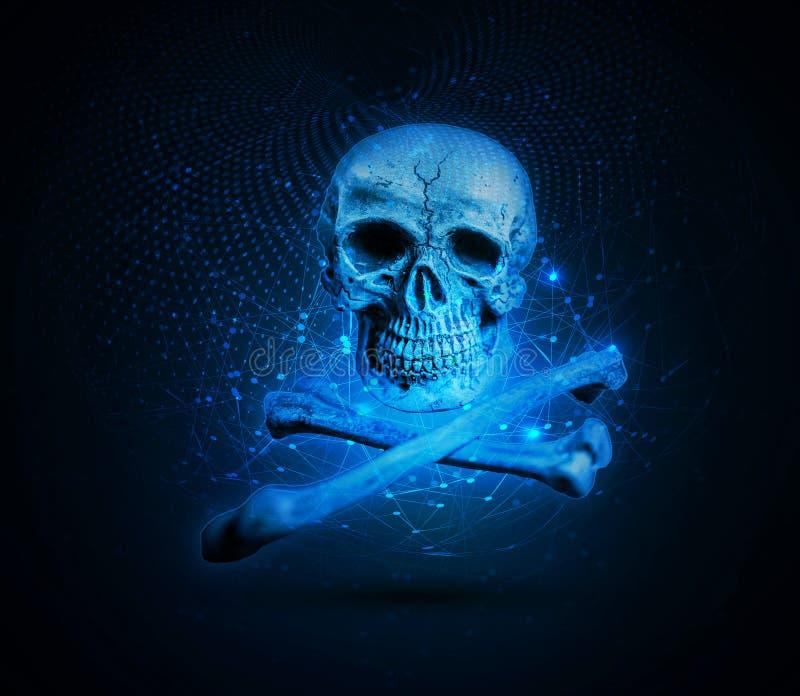 Artystyczna czaszka na Dwa zaznaczać kościach zdjęcie stock