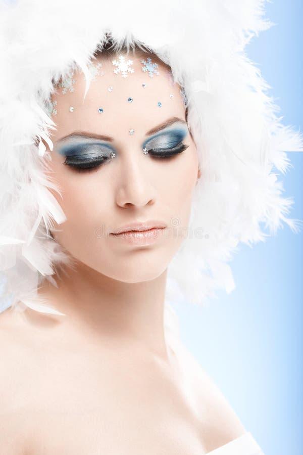 Artystyczna fotografia wspaniała kobieta w zimy makeup zdjęcia royalty free