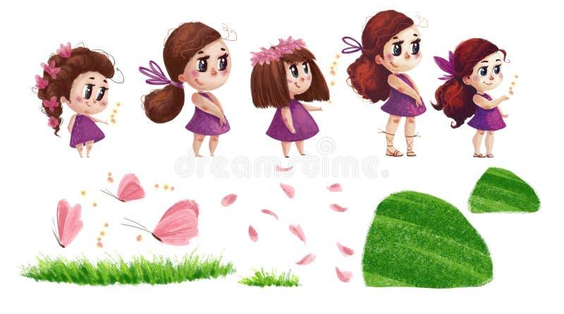 Artystyczna ręka rysująca kolekcja natura elementy i śliczne małe dziewczynki z długim brown włosy i menchiami ubieramy ilustracji