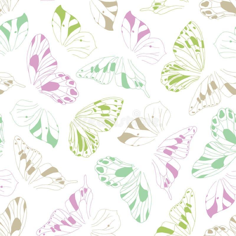 Artystyczna ręka rysujący graficzny motyl uskrzydla wektorowego bezszwowego wzór Świeża figlarnie wiosny lata tła tekstura ilustracji