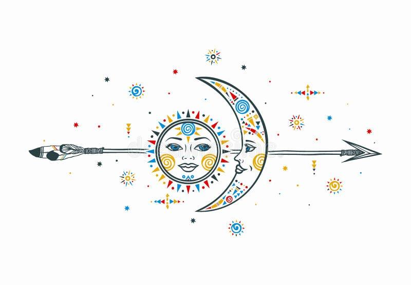 Artystyczna słońce księżyc strzała ilustracja royalty ilustracja