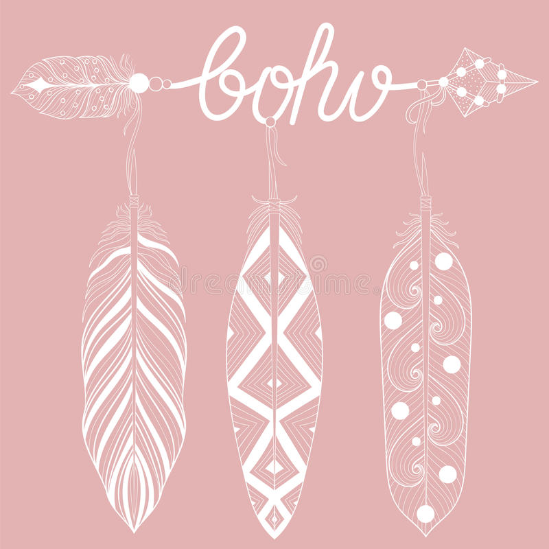 Artystyczna strzała na różowym tle, listy Boho z henny feath ilustracji