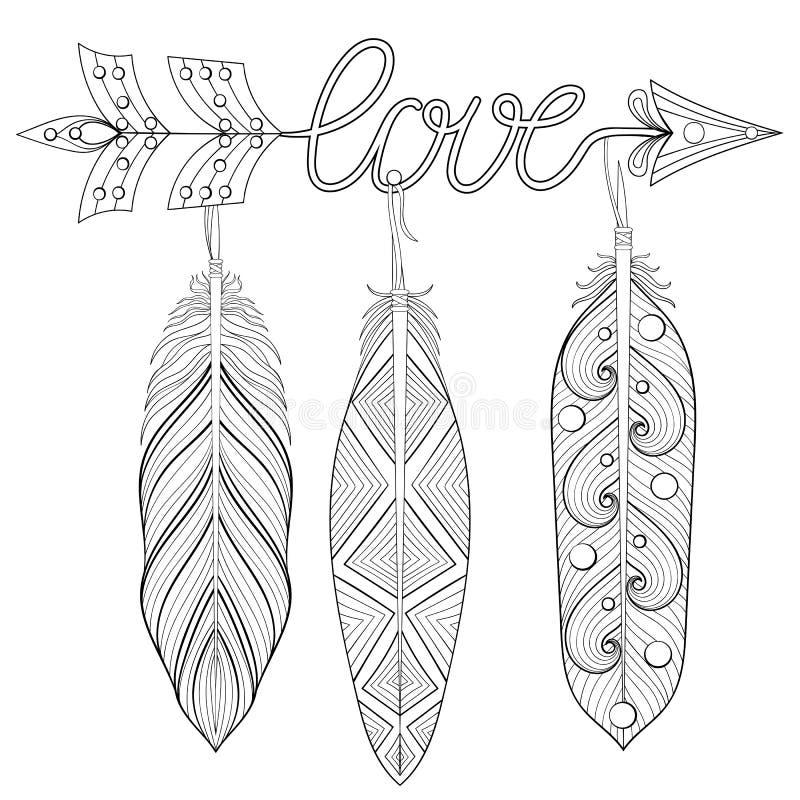 Artystyczna strzała, ręka rysujący amulet z słowo miłością i piórka, ilustracja wektor