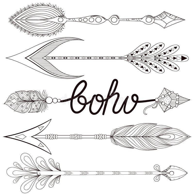 Artystyczne strzała ustawiać z henn piórkami Ręka rysujący zentangle Ar royalty ilustracja