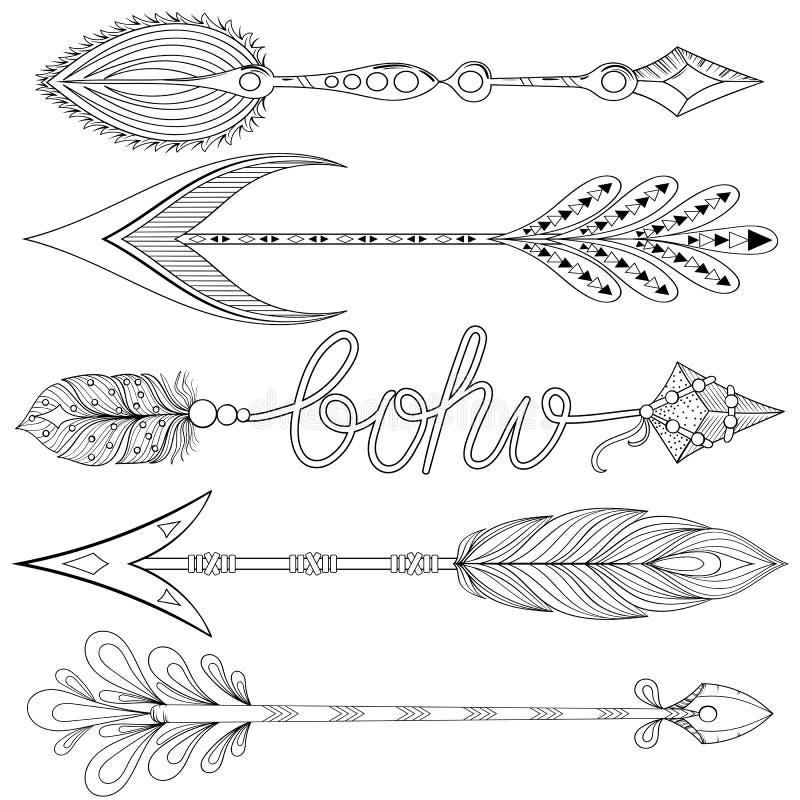Artystyczne strzała ustawiać z piórkami Ręki rysować dekoracyjne strzała ilustracja wektor