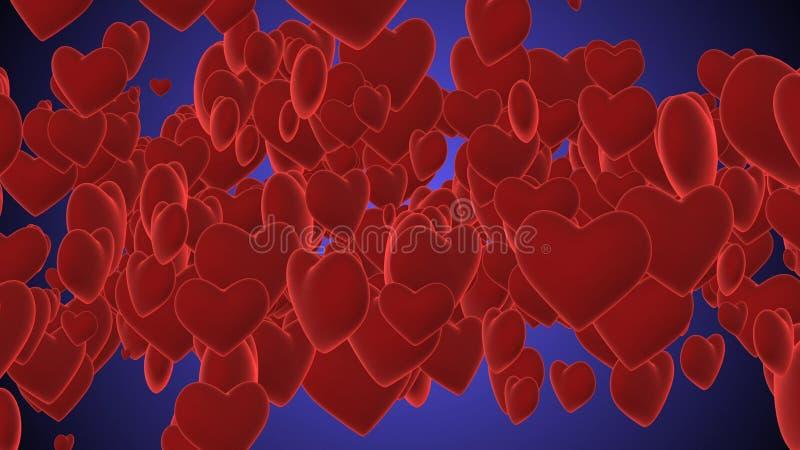 Artystyczni purpurowe serca Ilustracyjni royalty ilustracja