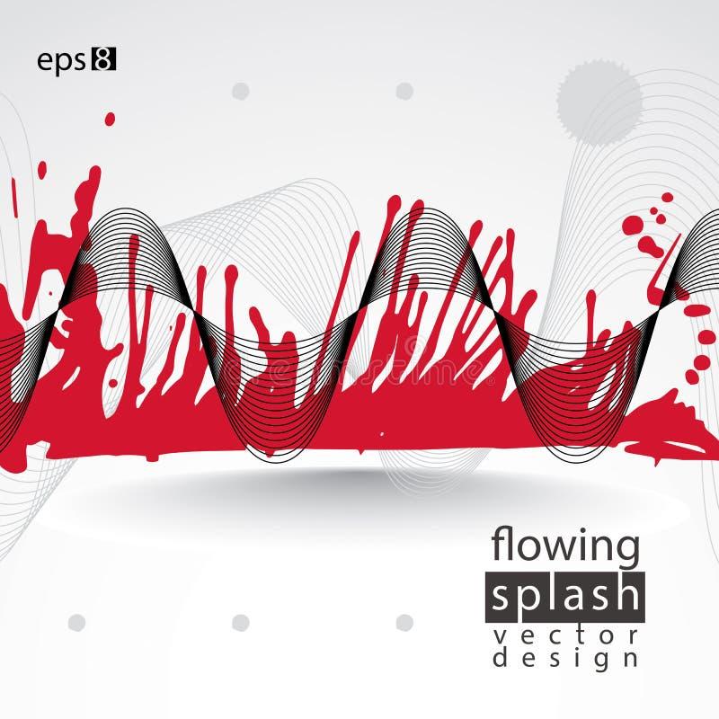 Artystyczny abstrakcjonistyczny powiewny kolorowy atramentu szablon, czerwień skanująca i tr, ilustracja wektor