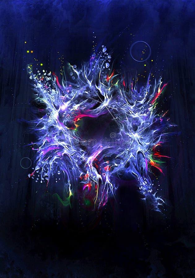 Artystyczny abstrakt bryzgający barwi jako unikalny grafiki tło ilustracja wektor