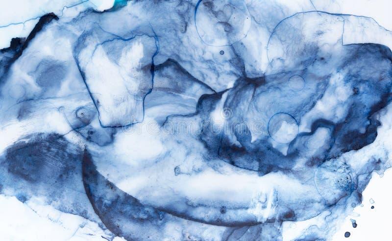 Artystyczny akwareli tła obrazek z plamami, uderzenia, krople, bąble, krostowatość, smugi royalty ilustracja