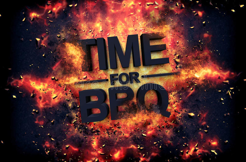 Artystyczny dramatyczny plakat dla - czasu dla BBQ fotografia stock