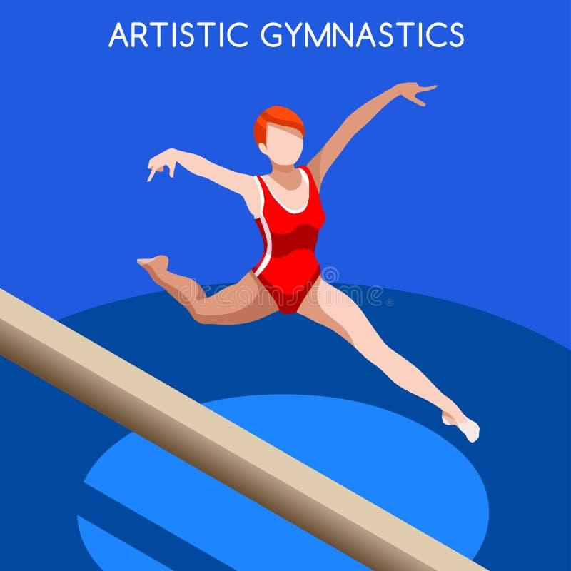 Artystyczny gimnastyka Balansowego promienia lata gier ikony set 3D GymnastSporting mistrzostwa Isometric międzynarodowa konkuren ilustracji