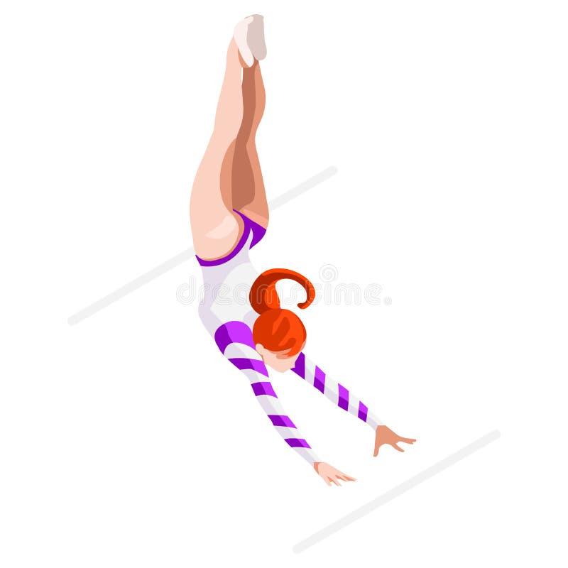 Artystyczny gimnastyka Nierównych barów lata gier ikony set 3D GymnastOlympics mistrzostwa Isometric Sportowy zawody międzynarodo royalty ilustracja