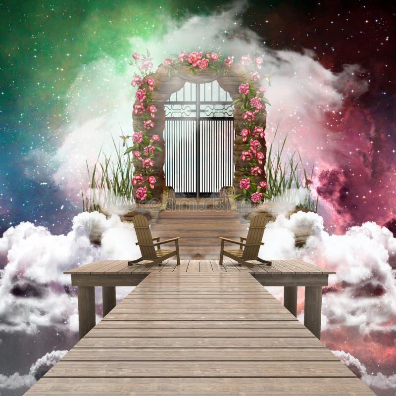 Artystyczny Kolorowy 3d renderingu komputer Wytwarzał ilustrację Niebiańska brama To Prowadzi Inny wymiar royalty ilustracja