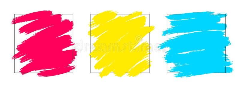 Artystyczny kwadratowy tło set, wektor z muśnięciem muska wielo- kolory, nafcianej farby spojrzenia tło z kolorowym malującym royalty ilustracja