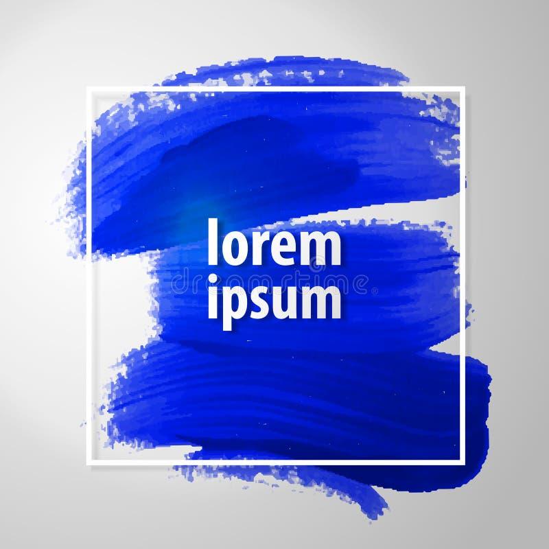 Artystyczny kwadratowy tło, wektor z muśnięciem muska błękitnych kolory, nafcianej farby spojrzenia tło z kolorowymi malować plam ilustracja wektor