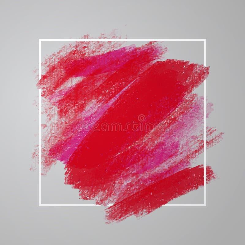 Artystyczny kwadratowy tło, wektor z muśnięciem muska czerwonych kolory, nafcianej farby spojrzenia tło z kolorowymi malować plam royalty ilustracja