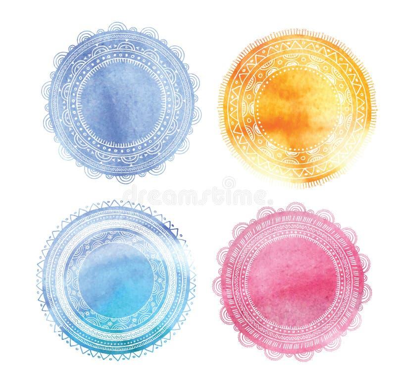 Artystyczny mandala i joga tło z round ilustracja wektor