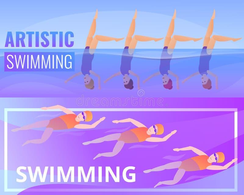 Artystyczny pływacki sztandaru set, kreskówka styl ilustracji
