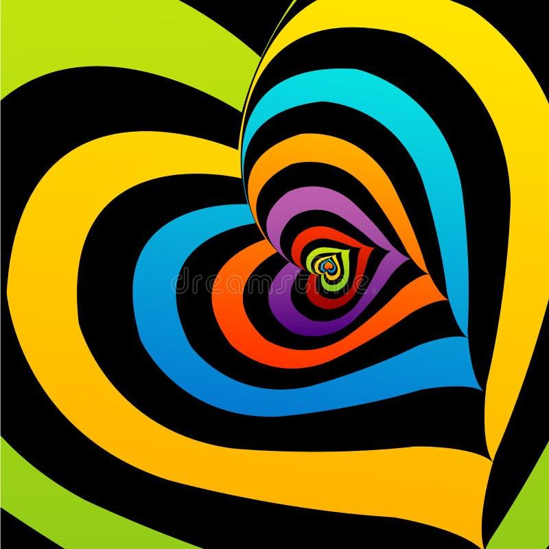 Artystyczny tło z kolorowymi sercami royalty ilustracja