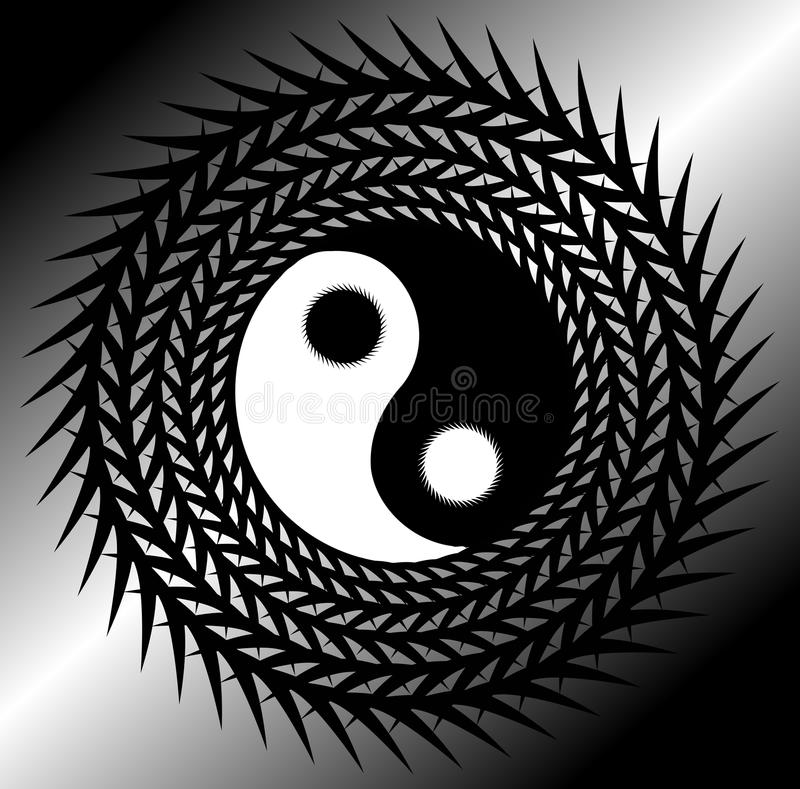 Artystyczny Tao na tle w popielatych brzmieniach ilustracji