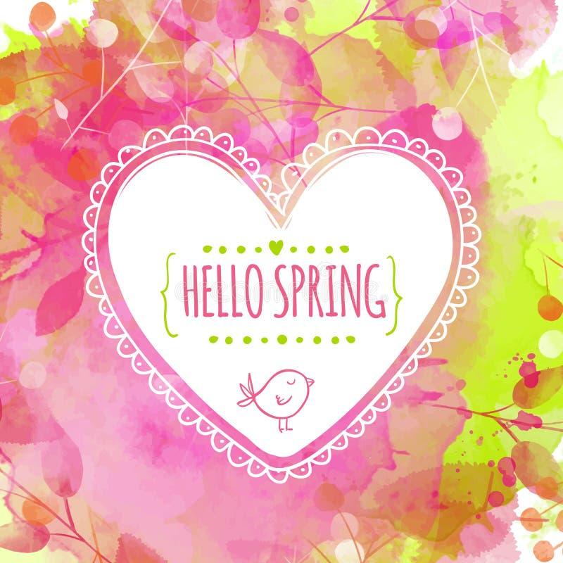 Artystyczny wiosny zieleni, menchii tło z i Ręka rysująca serce rama z ptakiem Wektorowy desi