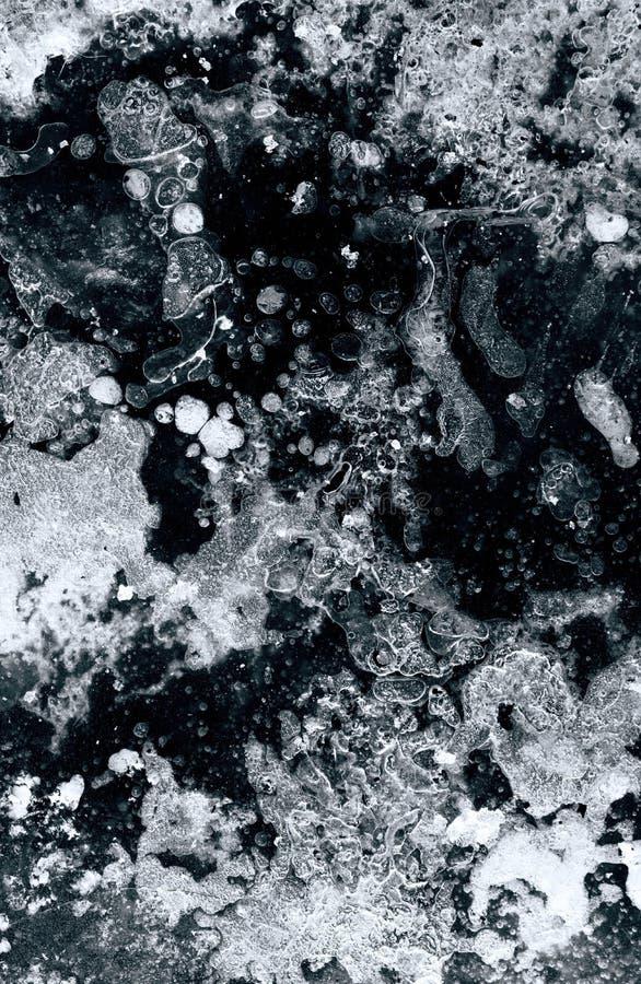 Artystyczny zakończenie w górę widoku surrealistyczna zimy rzeki lodu powierzchnia z mnóstwo szczegółem ilustracja wektor