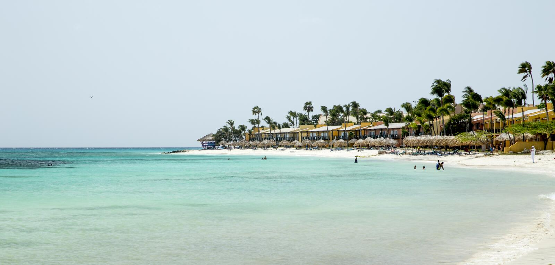 Aruba beach. Eagle beach on Aruba island stock photo