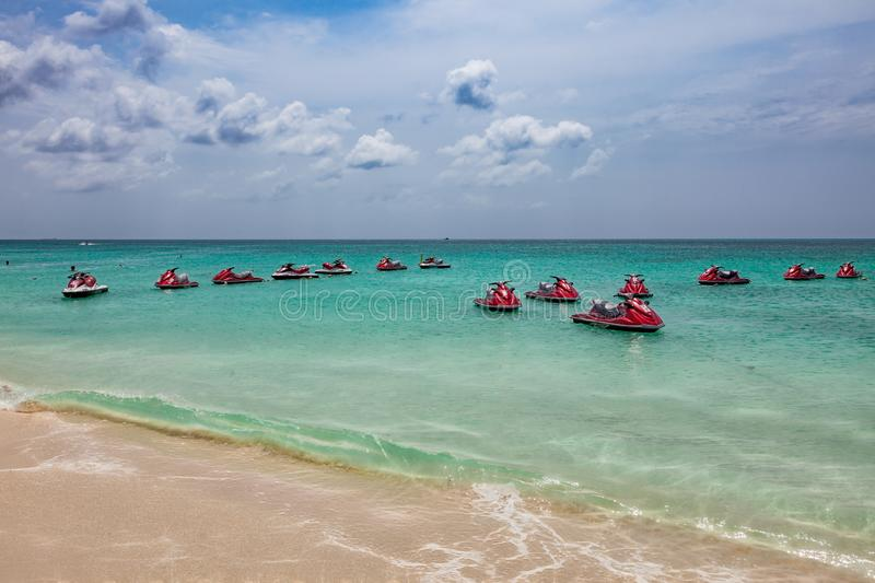 Jet ski rental at Eagle Beach in Aruba. The Eagle Beach is one of the most beautiful beaches in the world royalty free stock image