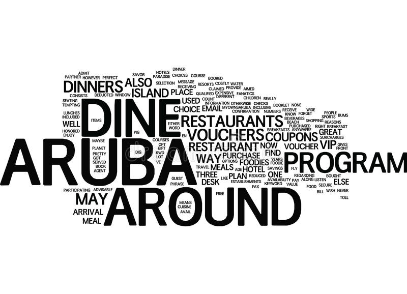 Aruba Dine Around Word Cloud Concept. Aruba Dine Around Text Background Word Cloud Concept stock illustration