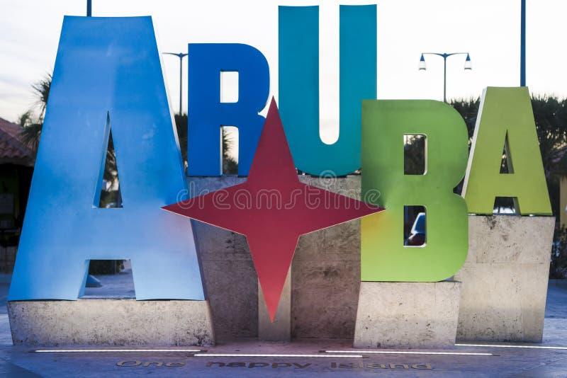 Aruba - lettere illuminate variopinte fotografia stock libera da diritti