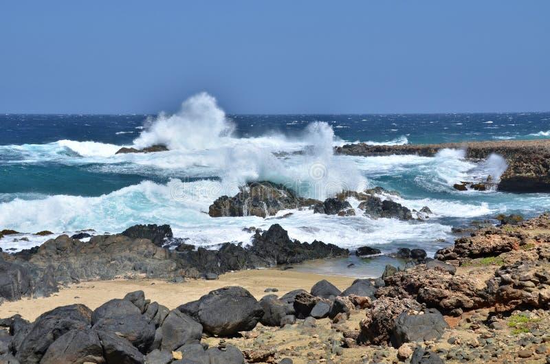 Aruba norr kust arkivfoton