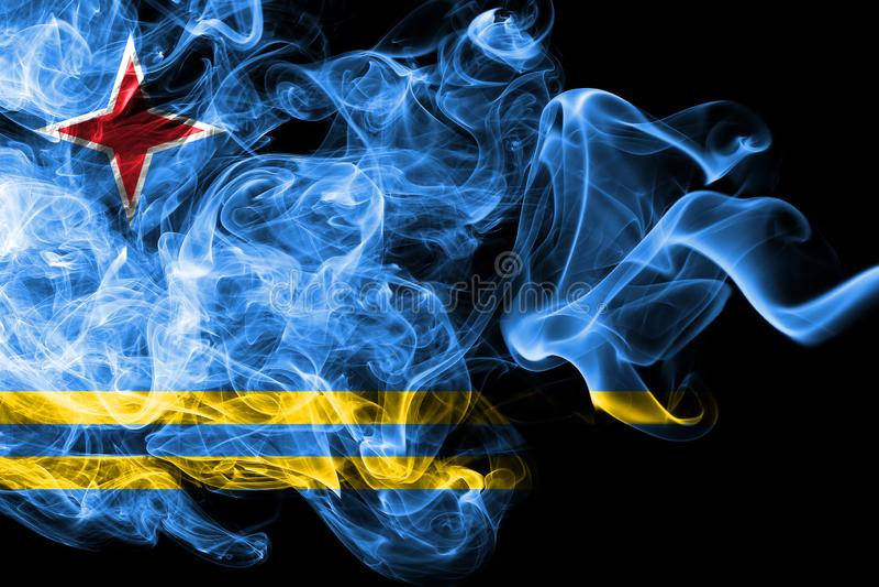 Aruba rökflagga, nederländsk beroende territoriumflagga royaltyfri illustrationer