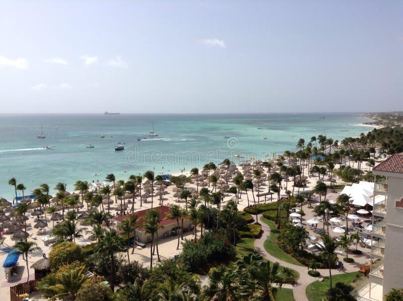Aruban从高层手段的海滩前面 免版税库存照片