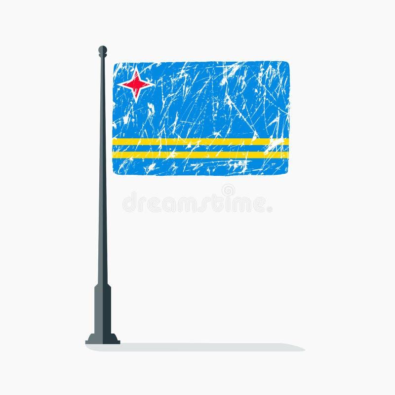 Aruban flag with scratches, vector flag of Aruba on flagpole with shadow. vector illustration
