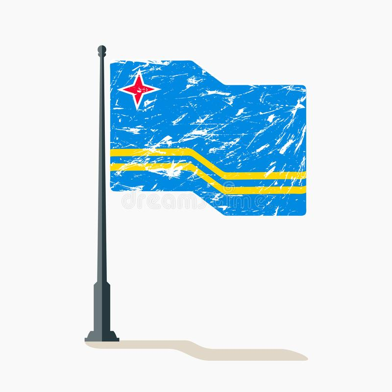 Aruban flag with scratches, vector flag of Aruba waving on flagpole with shadow. stock illustration